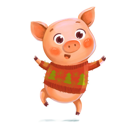 Cheerful jumping Piggy. Pig in a knitted winter sweater with Christmas trees. Symbol of the New Year. Funny cartoon character. Isolated on white background. Hand-drawing Illustration Banco de Imagens
