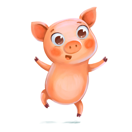 Piggy jumping having fun. Symbol of the New Year. Funny cartoon character. Isolated on white background. Hand-drawing Illustration