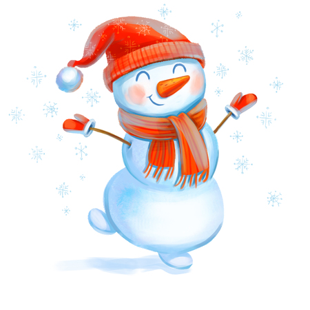 Cheerful snowman. Symbol of the New Year. Funny cartoon character. Isolated on white background. Hand-drawing Illustration Banco de Imagens