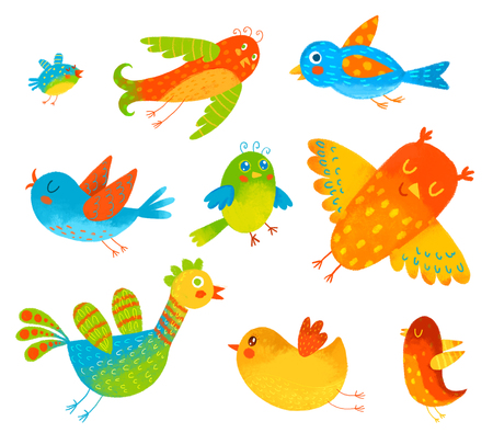 Funny colorful birdies. Isolated on white background. Hand-drawing Illustration. Set Banco de Imagens