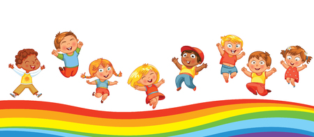 Kids have fun jumping on a rainbow, like on a trampoline. Template is ready for advertising of childrens entertainment center. Panorama. Funny cartoon character. Vector illustration Ilustração