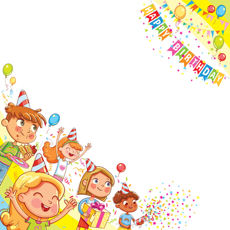 Kids celebrating Birthday with gift and cake in background of confetti falling and balloons. Template for advertising brochure. Ready for your message. Funny cartoon character. Vector illustration