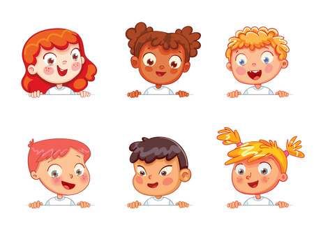 Cartoon collection of little kids portraits. Children of different nationalities are holding blank poster. Ready for your message. Space for text. Funny cartoon character. Isolated on white