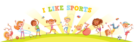 Children are engaged in different kinds of sports on nature background. Children's panorama for your design. Template for advertising brochure or web site. Funny cartoon character. Vector illustration Vettoriali