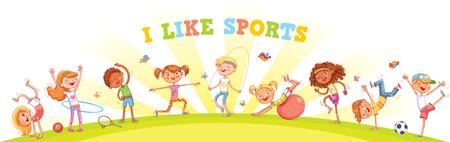 I bambini sono impegnati in diversi tipi di sport sullo sfondo della natura. Panorama per bambini per il tuo design. Modello per brochure pubblicitaria o sito web. Personaggio dei cartoni animati divertente. Illustrazione vettoriale Vettoriali