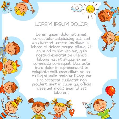 Cute kids. Colorful template for advertising brochure in style of childrens drawings. Ready for your message. Funny cartoon character. Vector illustration Ilustração