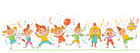 Birthday Party. Happy kids celebrating birthday. Template for advertising brochure. Ready for your message. In the style of children's drawings. Funny cartoon character. Vector illustration. Panorama