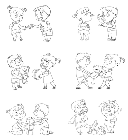 Buen y mal comportamiento de un niño. Hermano y hermana peleando por juguetes. Mejores amigos para siempre. Personaje de dibujos animados divertido. Aislado sobre fondo blanco. Libro de colorear. Ilustración de vector. Colocar Ilustración de vector
