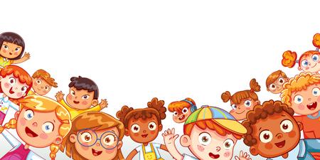 Grupo de niños felices multiculturales saludando a la cámara. Panorama infantil para su diseño. Lugar para el texto. Plantilla para folleto publicitario. Personaje de dibujos animados divertido. Ilustración vectorial
