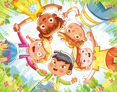 Friendship day. Below view of happy children embracing each other and smiling at camera. Group of happy children waving at the camera. Funny cartoon character. Vector illustration