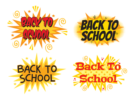 Inscription Back to school. Explosion with comic style. Set. Vector illustration. Isolated on white background Ilustração