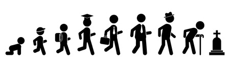 Icono plano de hombres de todas las edades. Personas de generaciones. Fases de desarrollo. Infancia, niñez, adolescencia, juventud, madurez, vejez. Logotipo vectorial para diseño web, móvil e infografía. Logos