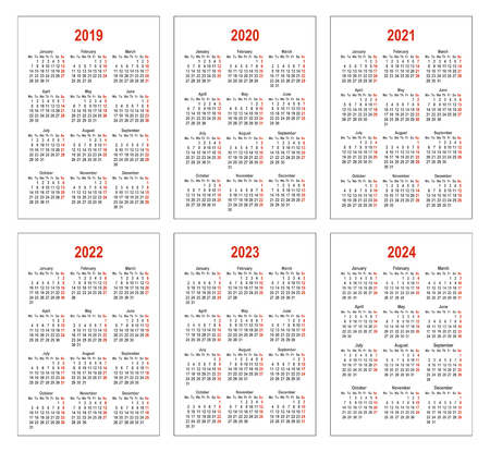 Pocket vertical calendars. Simple calendar for 2019, 2020, 2021, 2022, 2023 and 2024 years. Week starts from Monday. Set