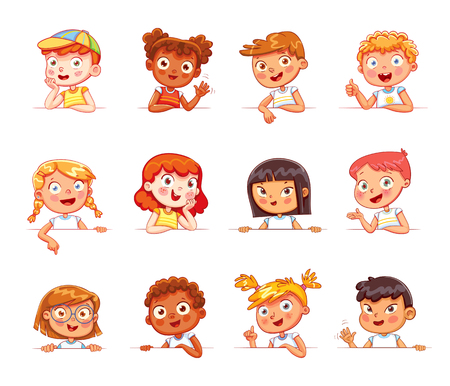 Cartoon collection of little kids portraits. Children of different nationalities and various gestures holding empty white board. Lots of copyspace for your text . Place for text. Blank banner
