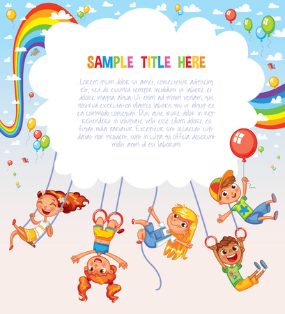 Kid weighs on the rings upside down. Climbing up along the rope. Swinging on swing. Template is ready for advertising of childrens Entertainment Center or Amusement Park. Ready for your message Ilustração