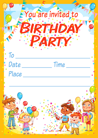 Invitation card for the birthday party. Happy group of children having fun at birthday party. Template design brochure ready for your text. Funny cartoon character. Vector illustration