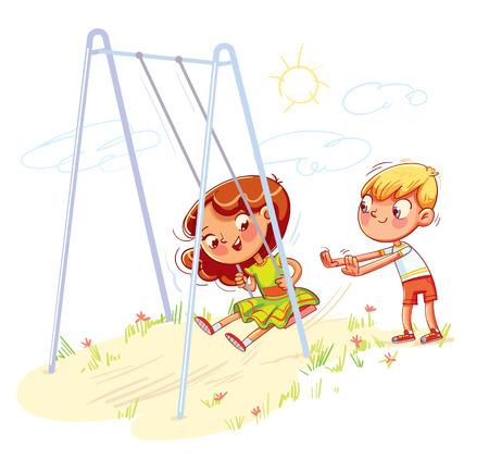 Niño sacude a la niña en un columpio en el patio de recreo. Chica columpiándose en un columpio. Zona para niños. Lugar para juegos. Personaje de dibujos animados divertido. Ilustración vectorial. Aislado sobre fondo blanco Ilustración de vector