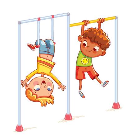 I bambini si allenano su barre orizzontali. Ragazzino che gioca sulla barra orizzontale. Terreno di gioco. Posto per i giochi. sport, fitness, esercizio. Personaggio dei cartoni animati divertente. Illustrazione vettoriale. Isolato su bianco