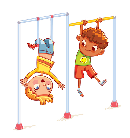 Kids train on horizontal bars. Little boy playing on the horizontal bar. Playground. Place for games. sport, fitness, exercising. Funny cartoon character. Vector illustration. Isolated on white Stock Illustratie