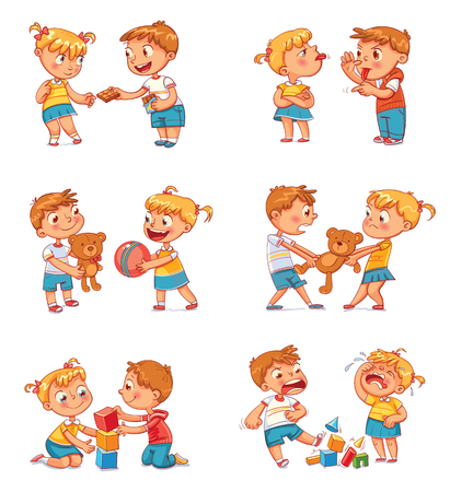 아이의 좋은 행동과 나쁜 행동. 장난감을 놓고 싸우는 형제와 자매. 영원히 가장 친한 친구. 재미있는 만화 캐릭터. 흰색 배경에 고립. 벡터 일러스트 레이 션. 세트