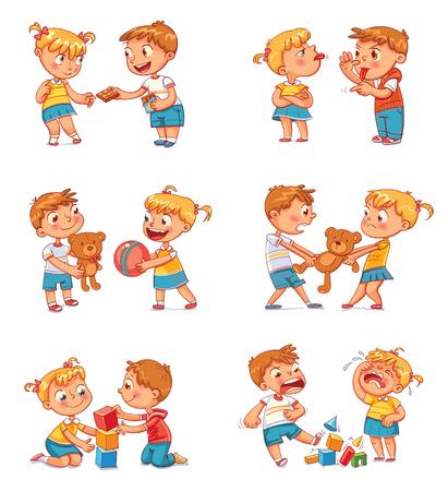 Goed en slecht gedrag van een kind. Broer en zus vechten om speelgoed. Beste vrienden voor altijd. Grappig stripfiguur. Geïsoleerd op een witte achtergrond. Vector illustratie. Instellen