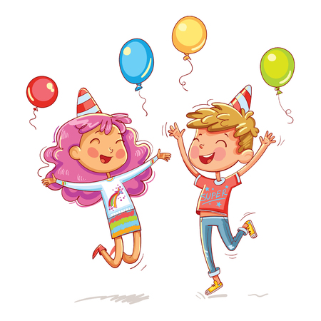A boy and a girl jumping fun at a childrens birthday party. Funny cartoon character. Vector illustration. Isolated on white background Stock Illustratie