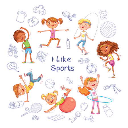 Fitness. Children are engaged in different kinds of sports on the background of various sports equipment. Funny cartoon character. Sports items on a sheet of exercise book. Isolated white background Ilustração