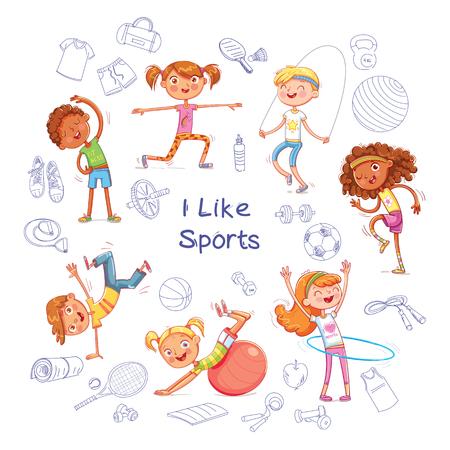 Geschiktheid. Kinderen houden zich bezig met verschillende soorten sporten op de achtergrond van verschillende sportuitrustingen. Grappig stripfiguur. Sportartikelen op een vel werkboek. Geïsoleerde witte achtergrond