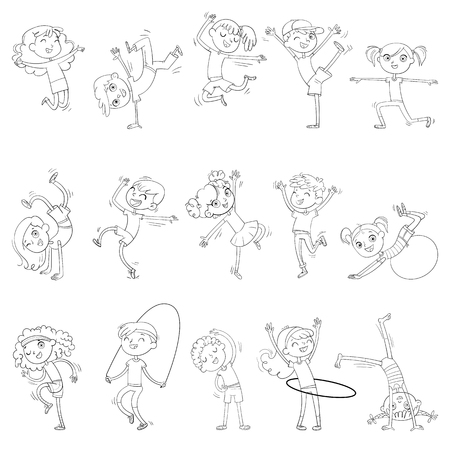 Children are engaged in different kinds of sports. Fitness. Dancing breakdance. Funny cartoon character. Vector illustration. Coloring book. Stock Illustratie