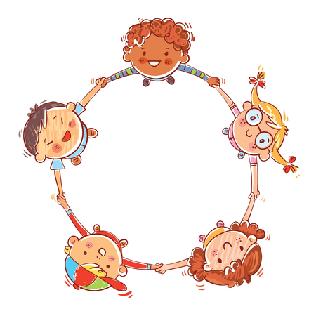 Multinational group of children. Five kids joining hands to form a circle. Hand drawing. Template for advertising brochure. Funny cartoon character. Vector illustration. Isolated on white background