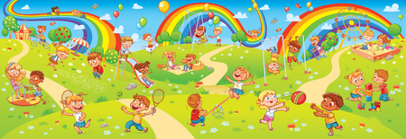 Childrens entertainment complex with swing, sandbox, carousel and slides in recreation park. Children playing in playground. Kids zone. Place for games. Funny cartoon characters. Vector illustration