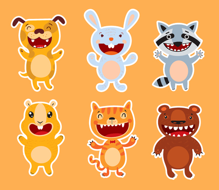 Cute flat animals. Dog, rabbit, raccoon, guinea pig, cat, bear. Funny cartoon character. Isolated background. Vector illustration. Set