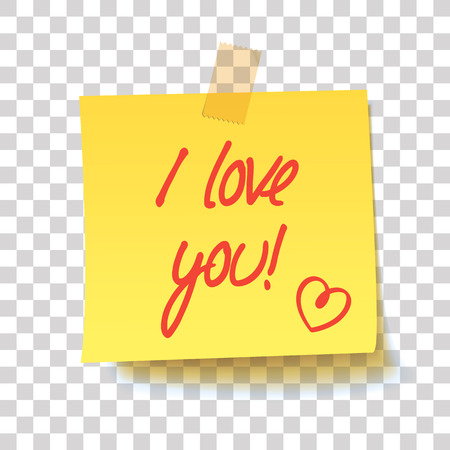Yellow sticky note with text - I love you! Handwritten inscription. Realistic vector illustration