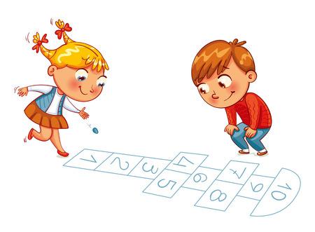Mädchen und Junge spielen in Hopscotch. Lustige Zeichentrickfigur. Vektor-Illustration. Isoliert auf weißem Hintergrund Vektorgrafik