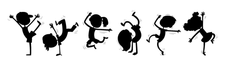 Silhouettes of dancing children. Funny cartoon character. Vector illustration. Isolated on white background