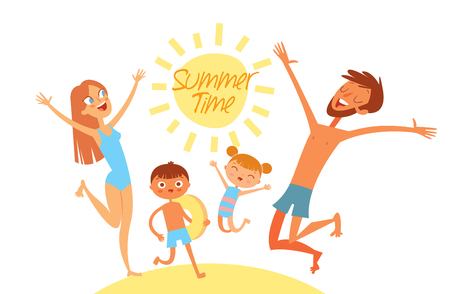 Summer time. Young family on vacation. Have fun jumping on sea beach. Flat style. Funny cartoon character. Vector illustration