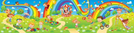 Children playing in playground. Kids zone. Place for games. Funny cartoon characters. Children slide down on a rainbow. Amusement park rides. Vector illustration. Seamless panorama Ilustração