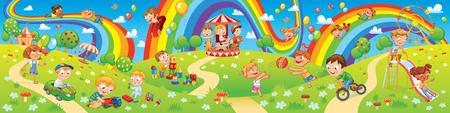 Kinder, die auf dem Spielplatz spielen. Kinderbereich. Platz für Spiele. Lustige Zeichentrickfiguren. Kinder rutschen auf einem Regenbogen herunter. Fahrgeschäfte im Vergnügungspark. Vektor-Illustration. Nahtloses Panorama