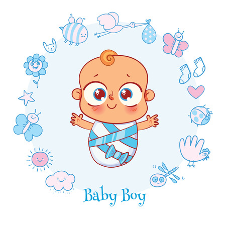 Welcome baby. Invite Greeting card it is a boy. Happy birthday, holiday, baby shower celebration greeting and invitation card. Funny cartoon colorful character. Vector illustration