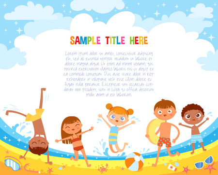 Kids have fun jumping on the beach. Flat style. Template for advertising brochure. Ready for your message. Funny cartoon character. Vector illustration