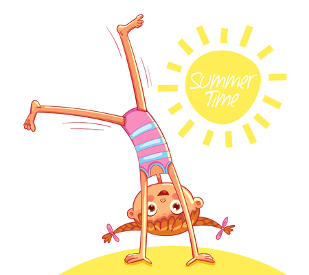Happy little girl doing cartwheel on sea beach. Summer time. Red-haired girl with two funny pigtails have fun jumping. Funny cartoon character. Vector illustration. Isolated on white background Ilustração
