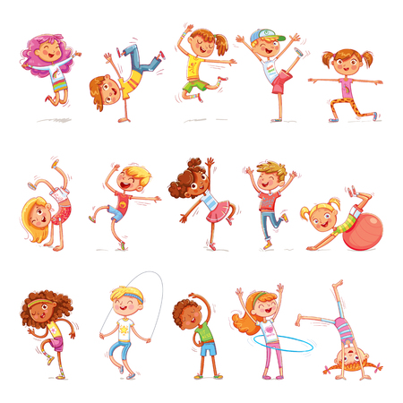Kinderen doen aan verschillende sporten. Geschiktheid. Breakdance dansen. Grappige cartoon kleurrijke karakter. Geïsoleerd op een witte achtergrond. vector illustratie
