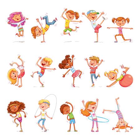 Los niños practican diferentes tipos de deportes. Aptitud física. Bailando breakdance. Personaje colorido de divertidos dibujos animados. Aislado sobre fondo blanco. Ilustración vectorial