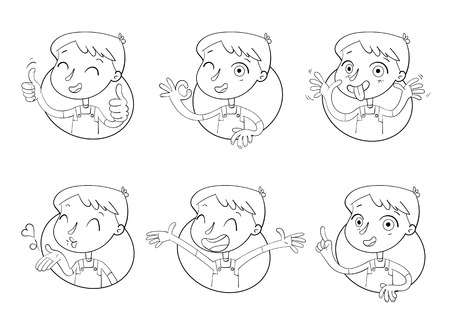 Boy in different situations. Emotions on face. Funny grimace, shows tongue, thumbs up, air kiss, sign of okay, hands up. Funny cartoon character. Vector illustration. Monochrome Logo Design template