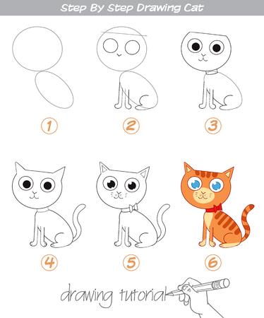 Esercitazione di disegno. Disegno passo passo Cat. Gatto facile da disegnare per bambini. Personaggio dei cartoni animati divertente. Illustrazione vettoriale