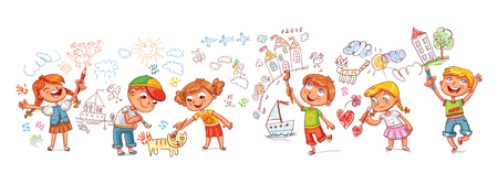 Kindergarten. Boys and girls drawing pictures scribbles on the walls. Children draw with felt-tip, paints and crayons. Template for advertising brochure. Funny cartoon character. Vector illustration.