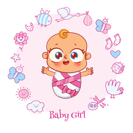 Welcome baby. Invite Greeting card it is a girl. Happy birthday, holiday, baby shower celebration greeting and invitation card. Funny cartoon colorful character. Vector illustration