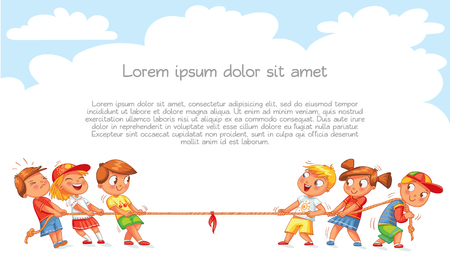 I bambini tirano la corda. Bambini che giocano al tiro alla fune. Modello per brochure pubblicitaria. Pronto per il tuo messaggio. Personaggio dei cartoni animati divertente. Illustrazione vettoriale