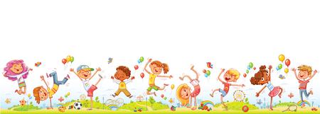 Enfants heureux sautant et dansant ensemble sur le fond du parc d'attractions de divertissement. Panorama des enfants sans couture pour votre conception. Modèle de brochure publicitaire ou de site Web. Personnage de dessin animé drôle Vecteurs