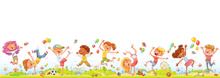 Happy kids jumping and dancing together on the background of entertainment amusement park. Seamless childrens panorama for your design. Template for advertising brochure or web site. Funny cartoon character